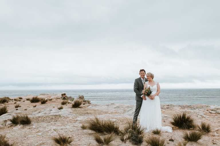 Bride and Groom beautiful portrait at Adelaide seaside Wedding photographed by Ivory Fox