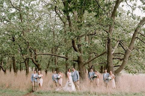 bridal party posing in oak trees and long grass