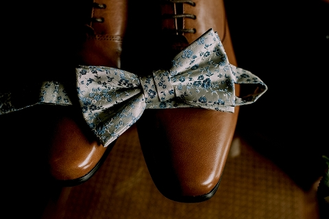 groom bowtie and shoes