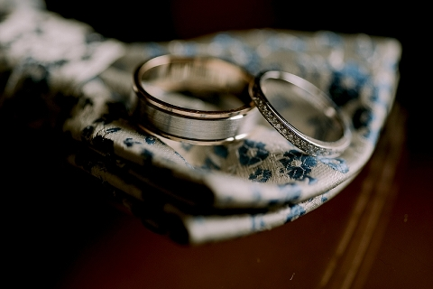 bridal rings on bowtie