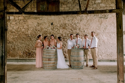 Bridal party in shearing shed