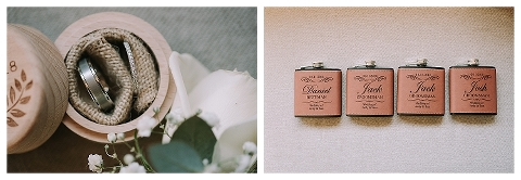 Wedding rings and personalised flask